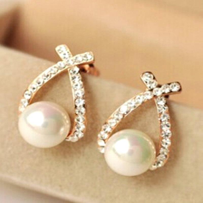 Pearl Rhinestone Earrings In Gold Setting Jewelry Jw23