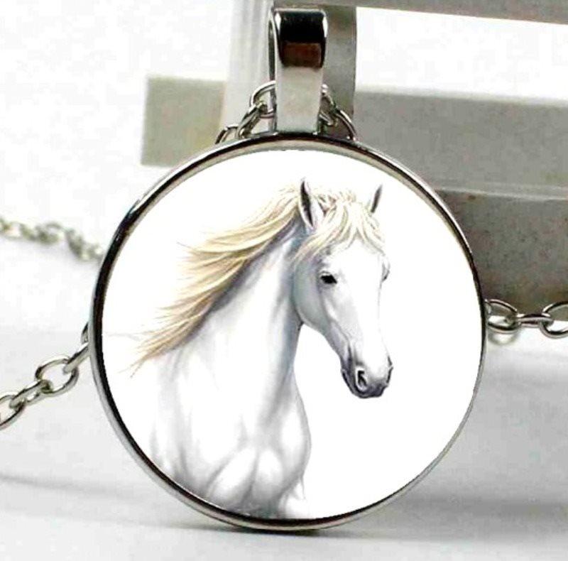 White Horse Necklace Pendant Costume Fashion Jewelry w/ Silver Chain JW230