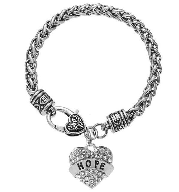 Inspirational Hope Rhinestone Heart Bracelet Silver Christian Fashion Costume Jewelry JW234