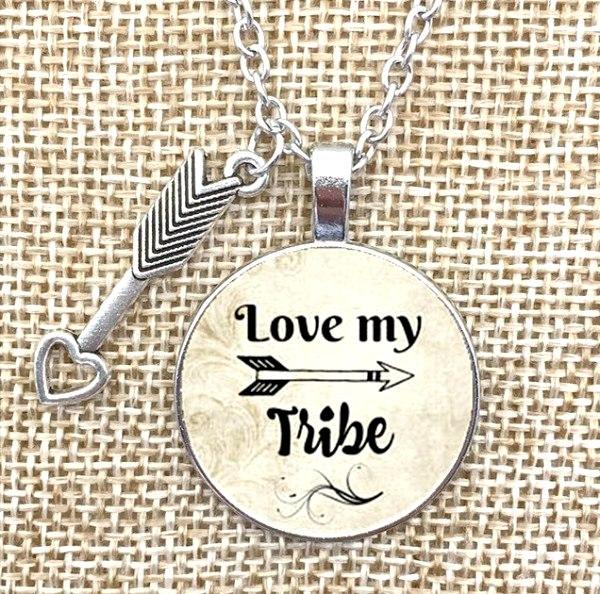 I Love My Tribe Necklace Pendant Inspirational Jewelry w/ Silver Chain JW239