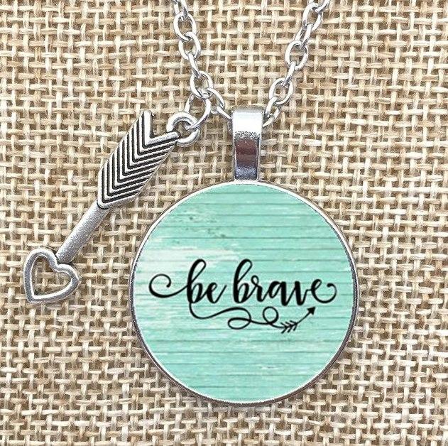 Necklace Pendant Be Brave Arrow Charm Inspirational Jewelry w/ Silver Chain JW241