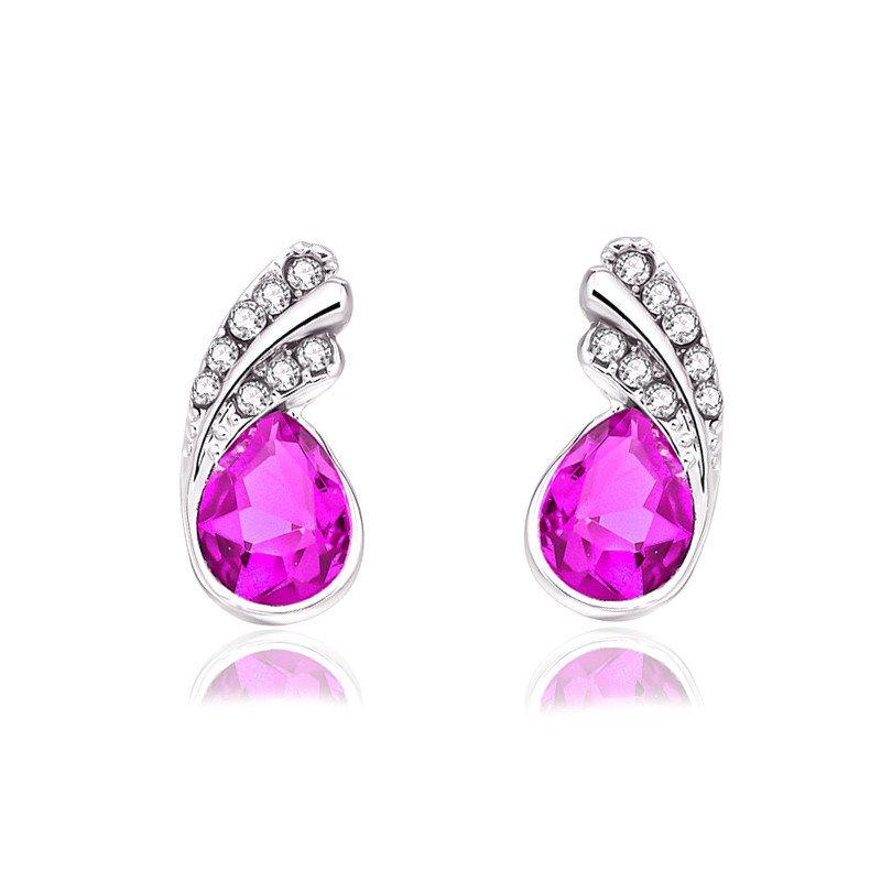 Silver Fuchsia Austria Crystal Rhinestone Earrings Water Teardrop Jewelry (JW26)