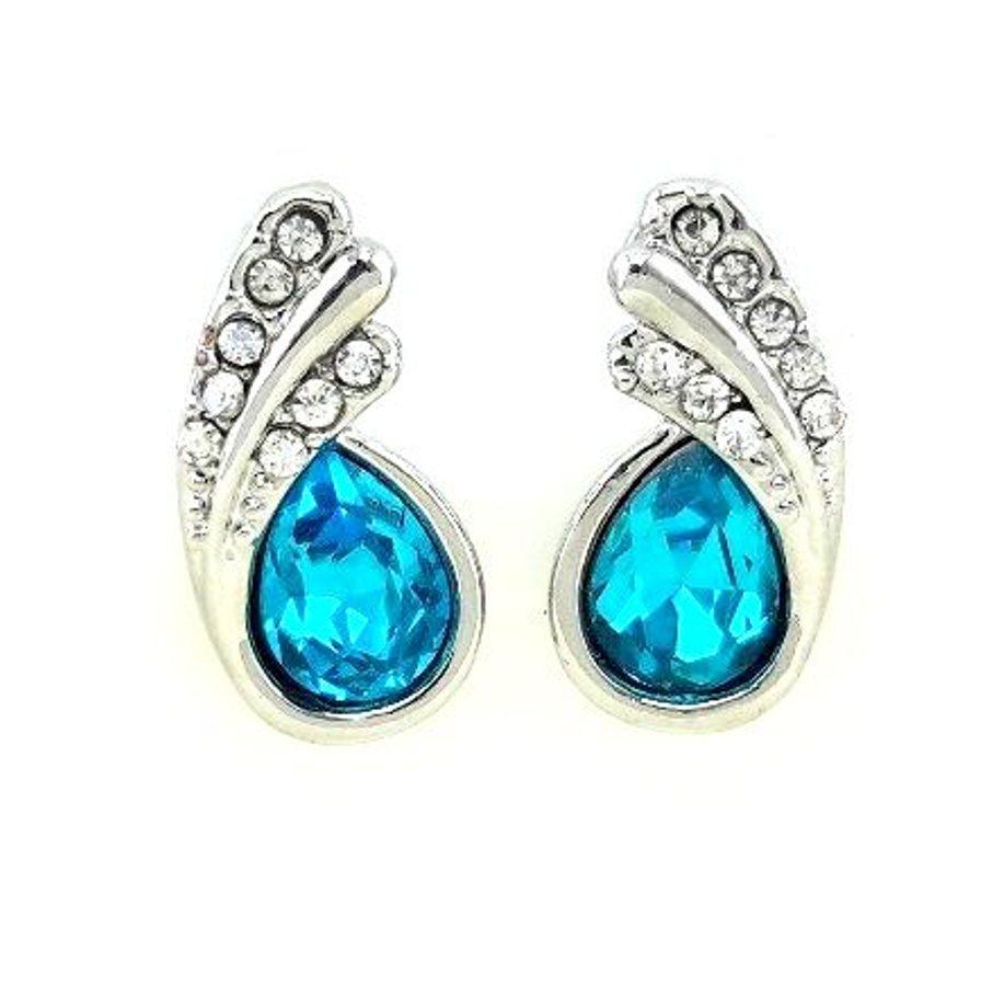 Silver Turquoise Austria Crystal Rhinestone Earrings Water Teardrop Jewelry (JW26)