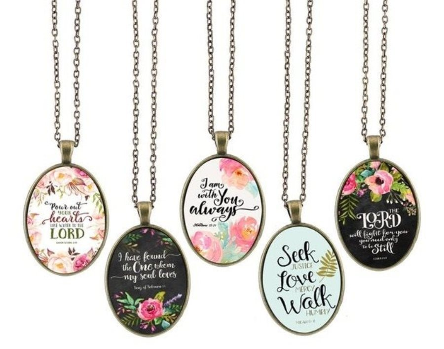 Scripture Jewelry Inspirational Quotes Necklace Motivational Antique Gold Oval Victorian JW272 - JW276
