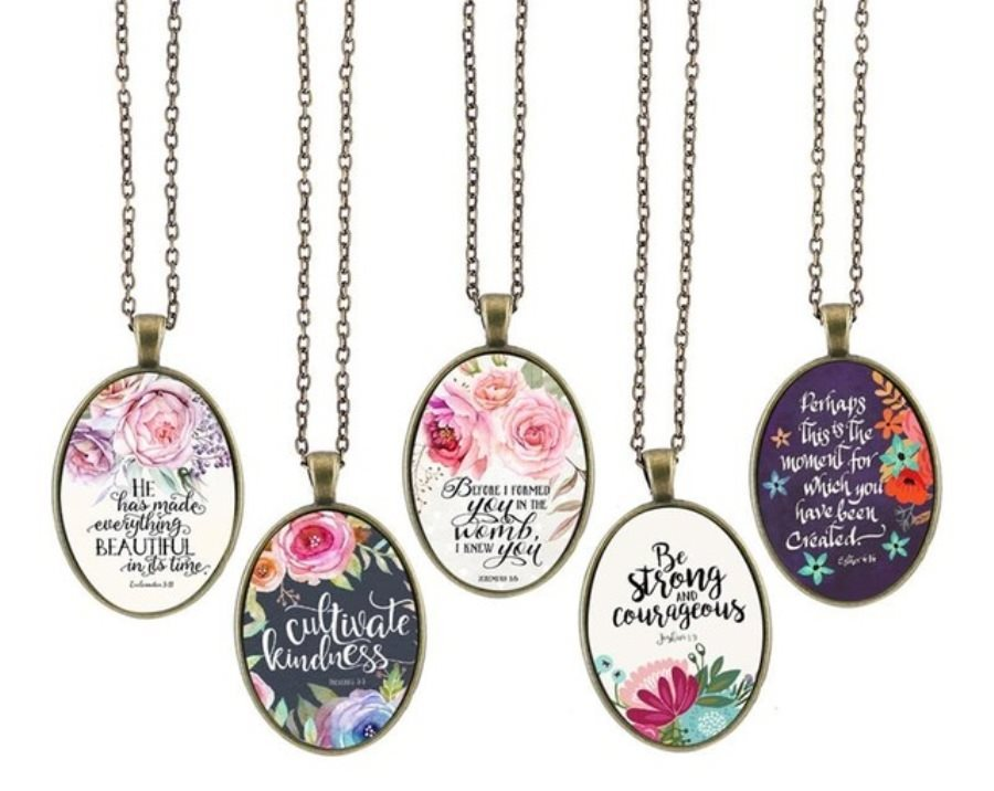 Christian Necklace Pendant Scriptures Inspirational Motivational Quotes Antique Gold Oval Victorian Jewelry JW277- JW281