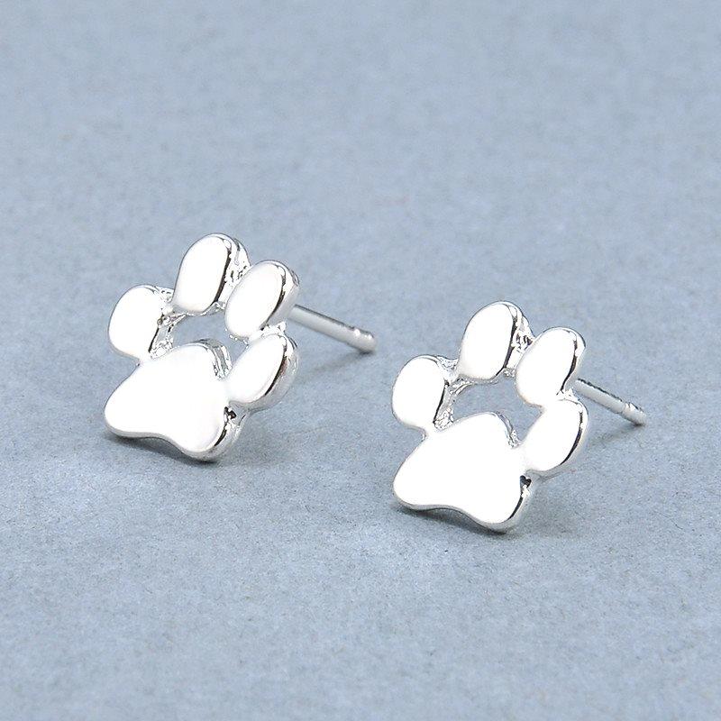 Silver Paw Costume Earrings Jewelry (JW29)