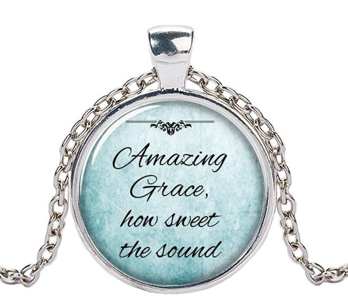 Favorite Hymn Necklace Amazing Grace How Sweet the Sound Pendant Inspiration From John Newton JW294