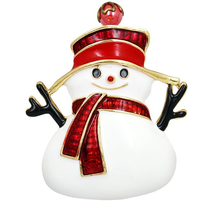 Snowman Brooch Christmas Holiday Pin Jewelry Red Hat JW296
