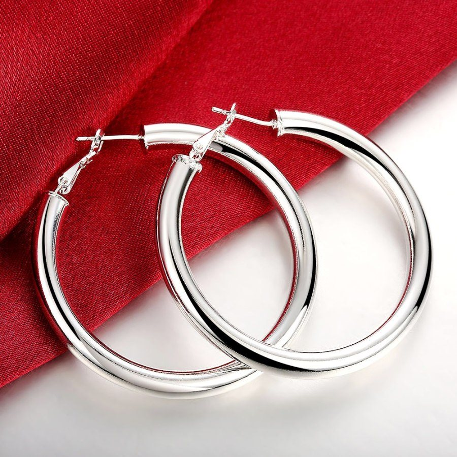 Hoop Earrings 925 Sterling Silver Plated Stamped  Jewelry 2 (JW30)