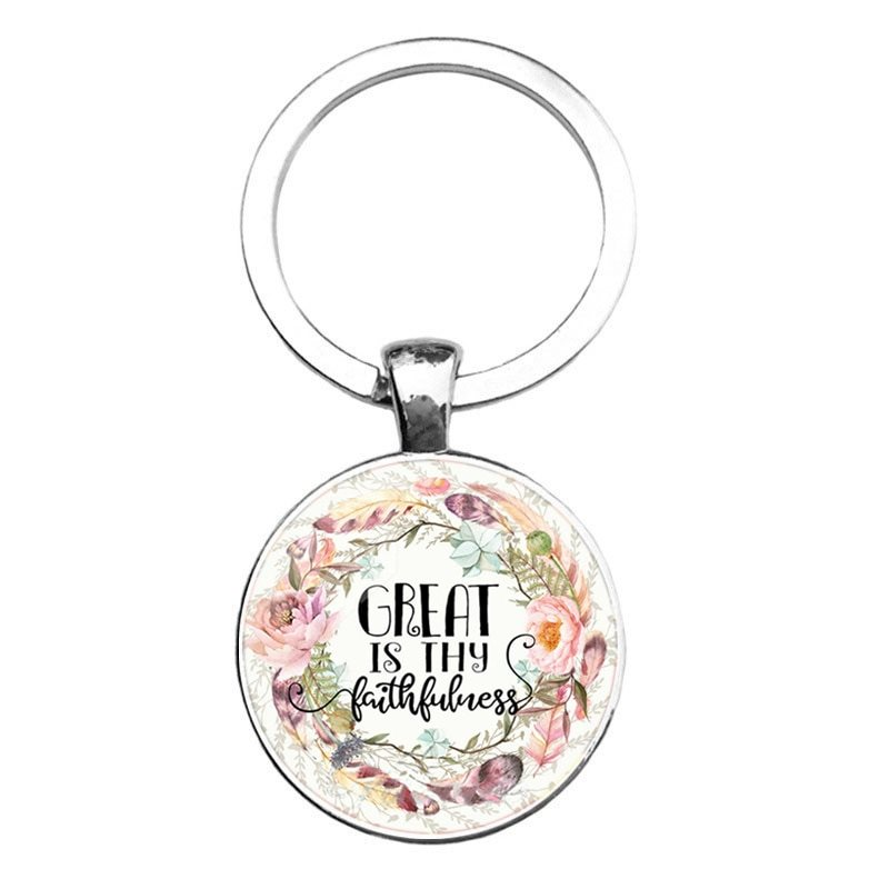 Key Ring Pendant Scripture Great Is Thy Faithfulness Inspirational Motivational Quotes Silver JW321