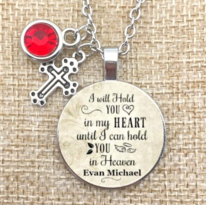 I Will Hold You In My Heart Until I Can Hold You In Heaven Rhinestone Charm Necklace JW326-JW329