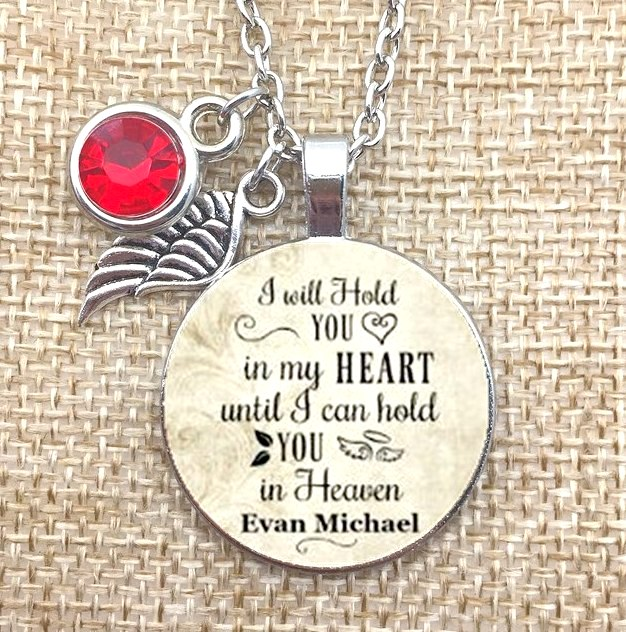 I Will Hold You In My Heart Until I Can Hold You In Heaven Rhinestone Charm Necklace JW330-JW334