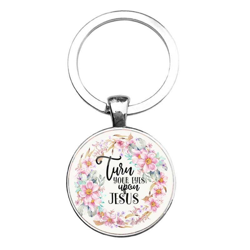 Key Ring Pendant Scripture Turn Your Eyes Upon Jesus Inspirational Motivational Quote Silver JW339