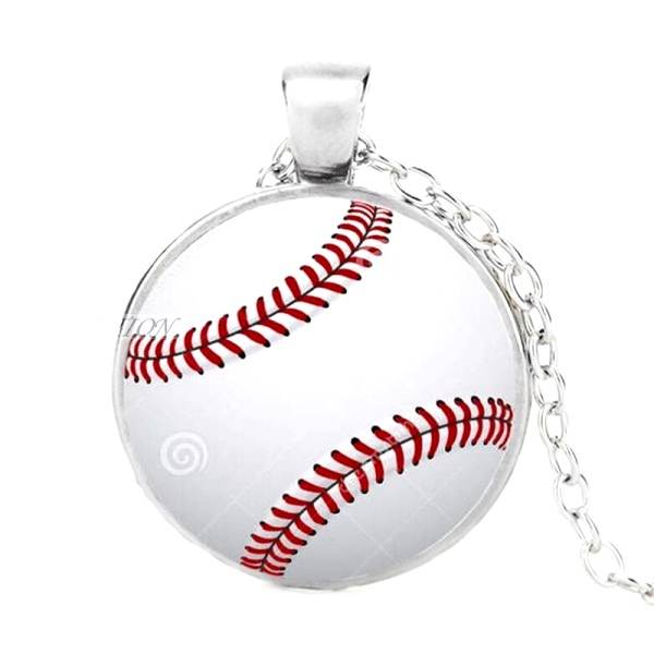 Baseball Sports Pendant Necklace Fashion Costume Jewelry with Silver Chain JW346