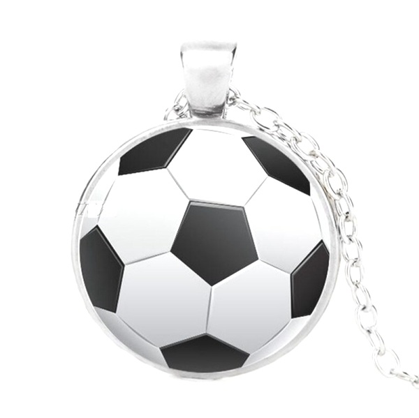 Soccer Sports Pendant Necklace Fashion Costume Jewelry With Silver Chain Jw347