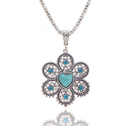 JW4 Rhinestone Turquoise Necklace Pendant Flower Heart Silver Metal Fashion Jewelry