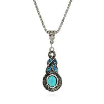 JW5 Rhinestone Turquoise Necklace Pendant Silver Metal Fashion Jewelry