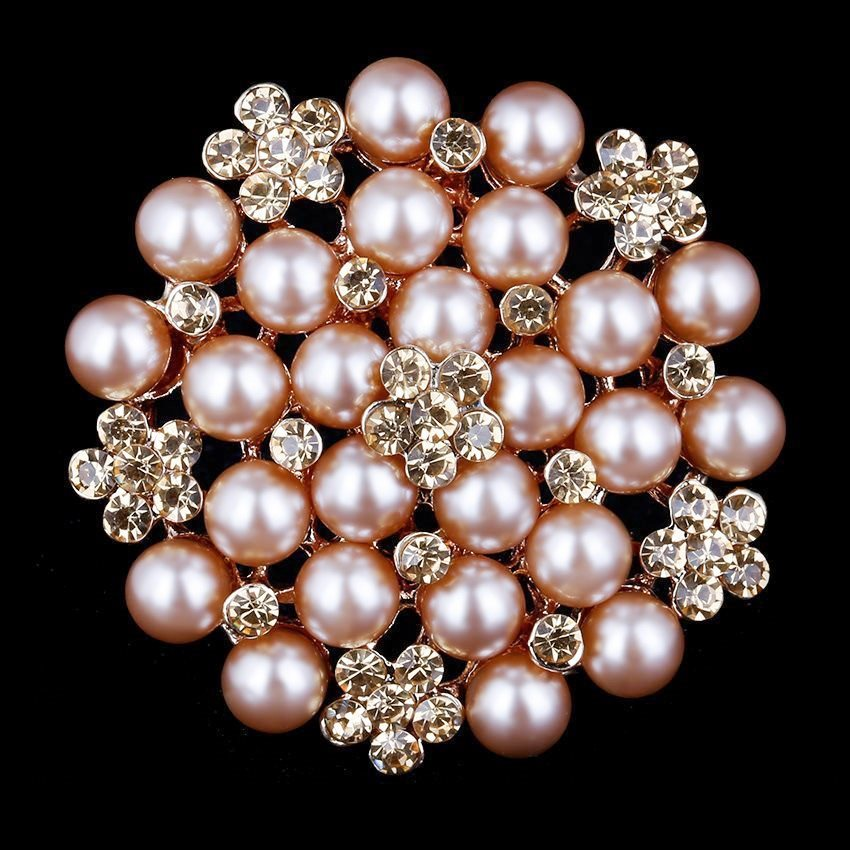 Bridal Champagne Brooch Pearl Cluster Gold Rhinestone Floral Pin Costume Jewelry JW57