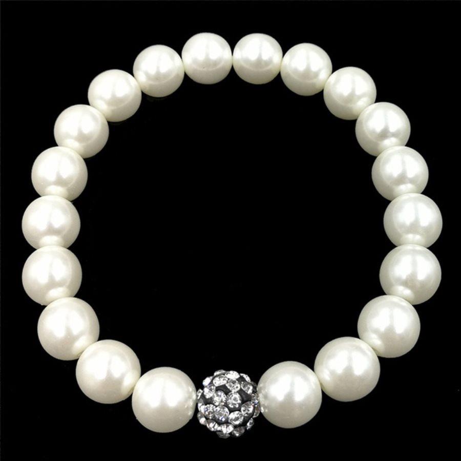 Stretchy Bracelet Pearls With Single Black Crystal Rhinestone Cluster Pearl Costume Jewelry JW65