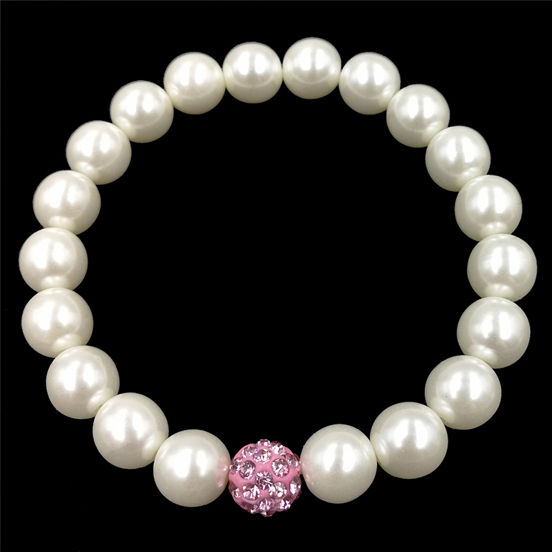 Stretchy Bracelet Pearls With Single Pink Sparkling Bead Fashion Costume Jewelry JW65