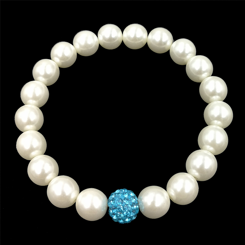 Stretchy Pearl Bracelet With Single Turquoise Sparkle Bead Trendy Jewelry  JW65