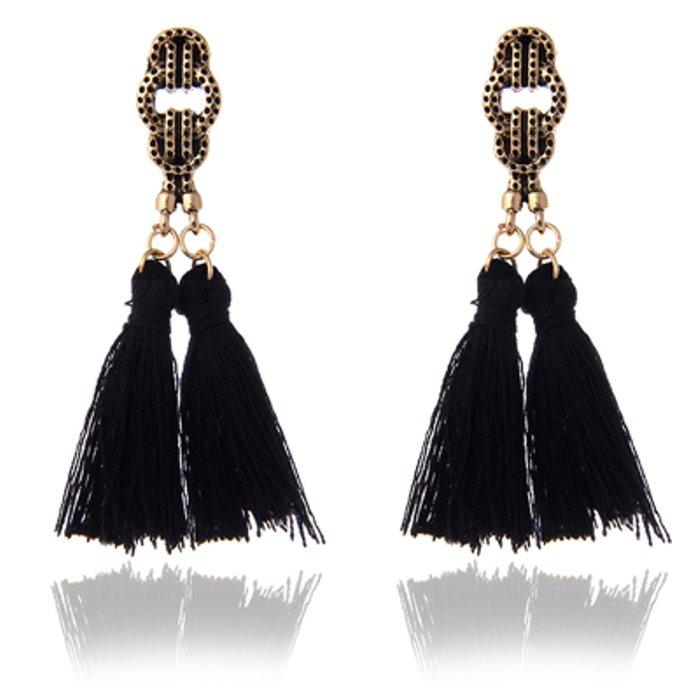 Black Tel Style Earrings Gold Costume Jewelry