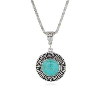 JW8 Rhinestone Turquoise Necklace Pendant Silver Metal Fashion Jewelry