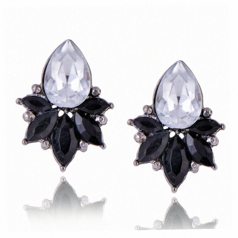 Black Earrings in Gunmetal Settings w/ Large Acrylic Crystal Stone Costume Jewelry JW80