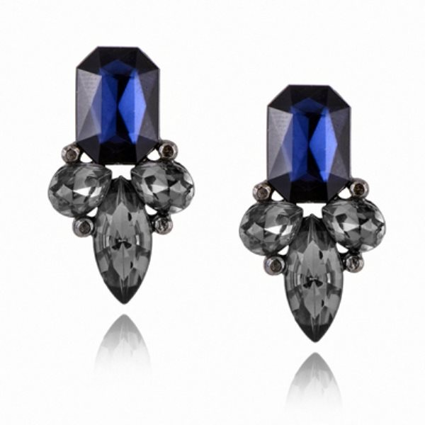 Earrings in Gunmetal Settings w/ Large Acrylic Dark Blue Stone Costume Jewelry JW82