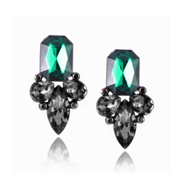 Earrings in Gunmetal Settings w/ Large Acrylic Green Stone Costume Jewelry JW82