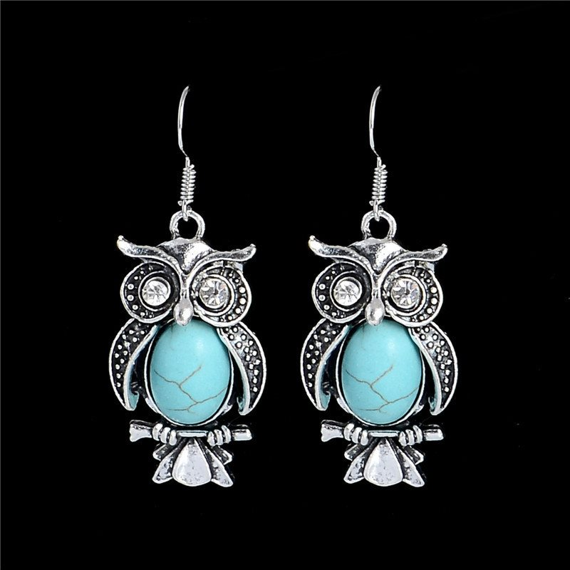 Owl Dangle Earrings In Antique Silver Settings W Turquoise Stones Costume Jewelry Jw84