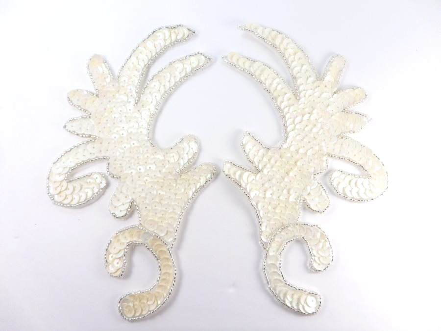 RMK8101X White AB Silver Claw Mirror Pair 6.75 Sequin Beaded Appliques