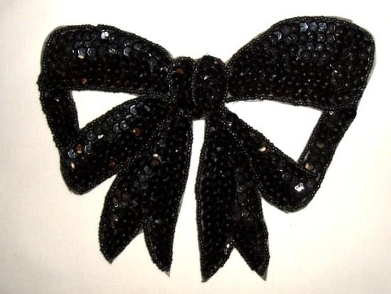 K8140 Black Large Bow Sequin Beaded Applique 6.75\