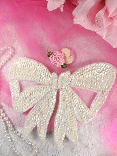 K8140 White AB Large Bow Sequin Beaded Applique 6.75