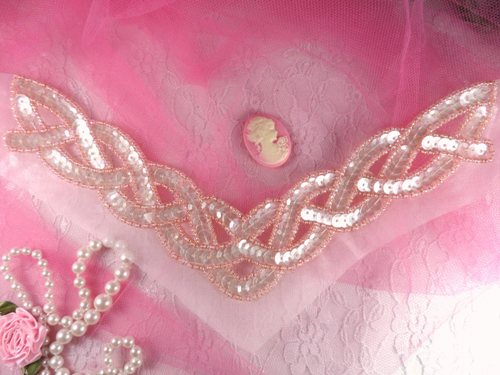 K8248 Pink Crystal AB Braided Collar Beaded Sequin Applique 8.75
