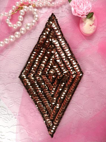 K8385 Bronze Diamond Beaded Sequin Applique 5.5