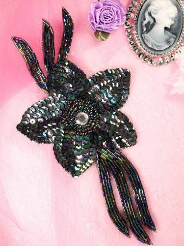 K8511  Black AB Jewel Floral Sequin Beaded Applique 7