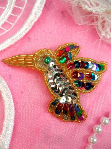K9307S Hummingbird Applique Multi Colored Sequin Gold Beaded Small Bird 3