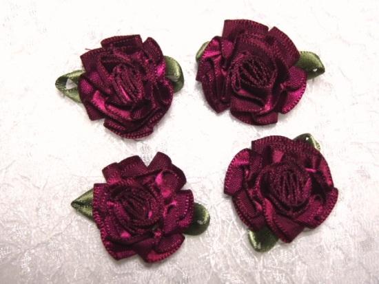 L22  Lot of 4 Wine Floral Rose Flower Appliques 1.5