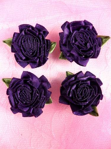 L22  Lot of 4 Dark Purple Floral Rose Flower Appliques 1.5\
