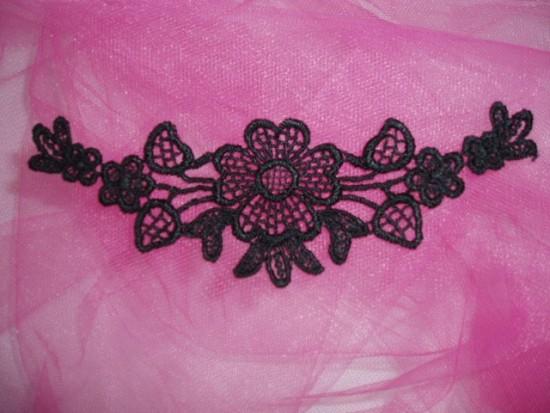 L23 Black Venice Lace Yoke Collar Applique 5\
