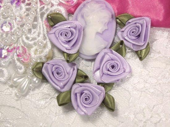 L27 Set of 5 Lavender Ribbon Rose Appliques