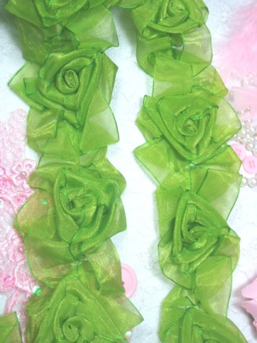 L28  Lime Apple Green Organza Floral Sewing Trim 2.5\