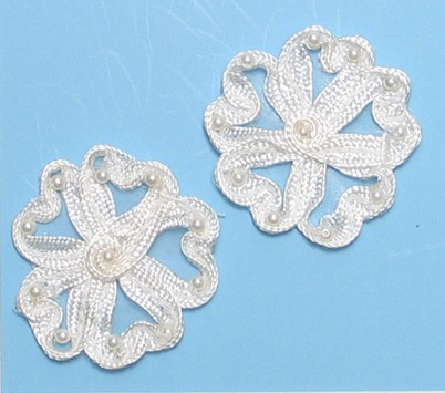 E3713  Ivory Flower Corded Lace Mirror Pair Appliques 2.25\