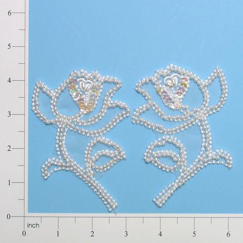 E446  Pearl Rose Mirror Pair Sequin Beaded Applique  4.5