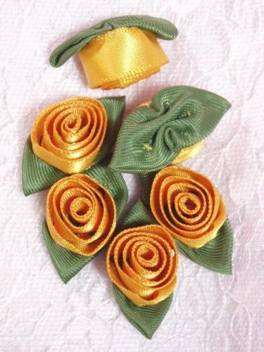 L51  Set of ( 6 ) Mustard Yellow Ribbon Rose Flower Appliques