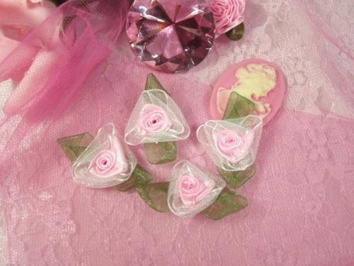 L53  Set of ( 4 ) Pink Ribbon Roses 1.5\