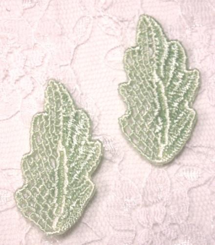 L72  Set of ( 2 ) Sage Green Venise Lace Leaf Appliques 1.5