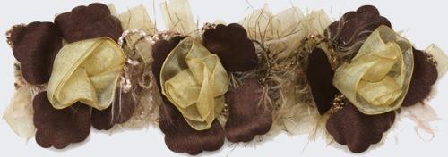 E5665 Beige Flower Stretchy Sewing Craft Trim