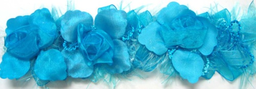 E5665 Bright Turquoise Rose Floral Stretchy Sewing Trim